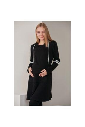 Görsin Hamile Kadın Siyah Kolları Şerit Detaylı Hamile Elbise