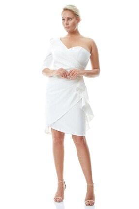 Keikei Kadın Beyaz Büyük Beden Krep Tek Kol Kısa Elbise