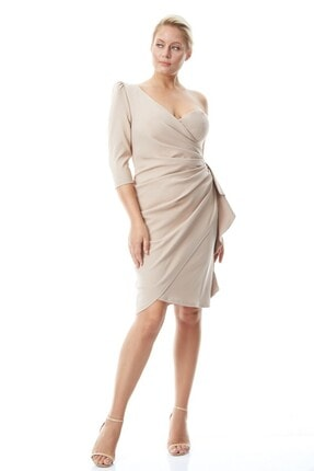 Keikei Kadın Bej Büyük Beden Krep Tek Kol Kısa Elbise