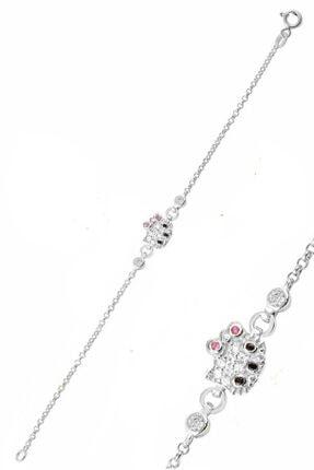 Trend Silver Kız Çocuk Gümüş 925 Ayar Kedi Modeli Beyaz Zirkon Taşlı Bileklik