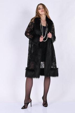 Nelly Kadın Siyah Dantel Yakası Kolu Kürklü Ceket