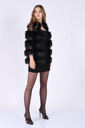 Nelly Kadın Siyah Dantel Kumaş Kürklü Uzun Ceket