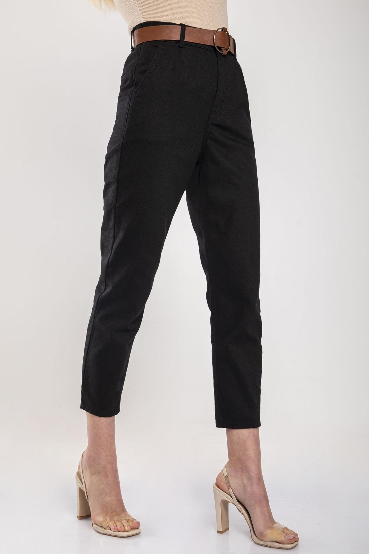 MD trend Kadın Siyah Bel Lastikli Kemerli Gabardin Pantolon 2