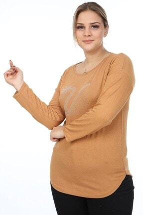 Womenice Kadın Vizon Kuğu Baskılı Büyük Beden Bluz