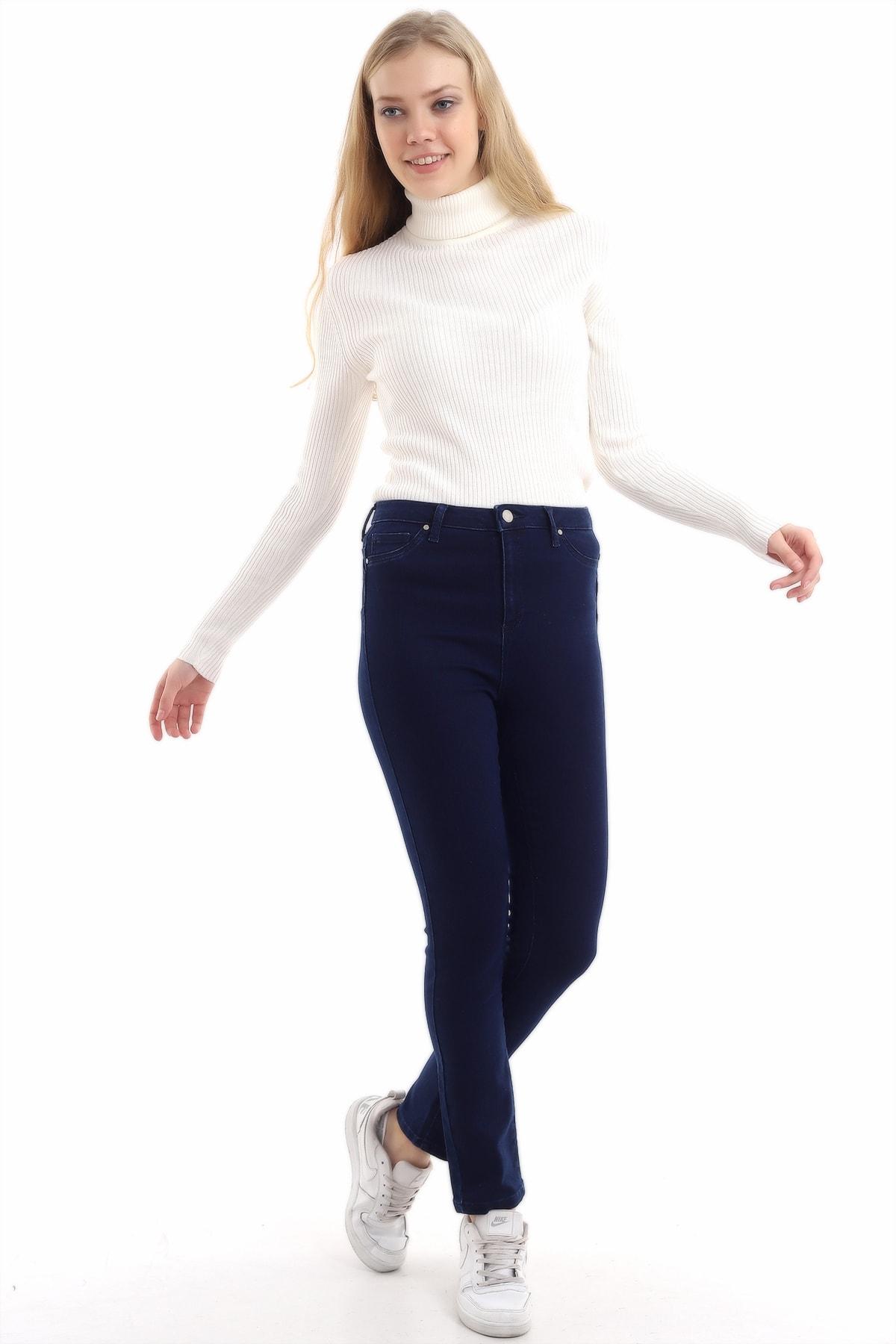 Zencefil Tekstil Kadın Lacivert Slim Kot Pantolon 1