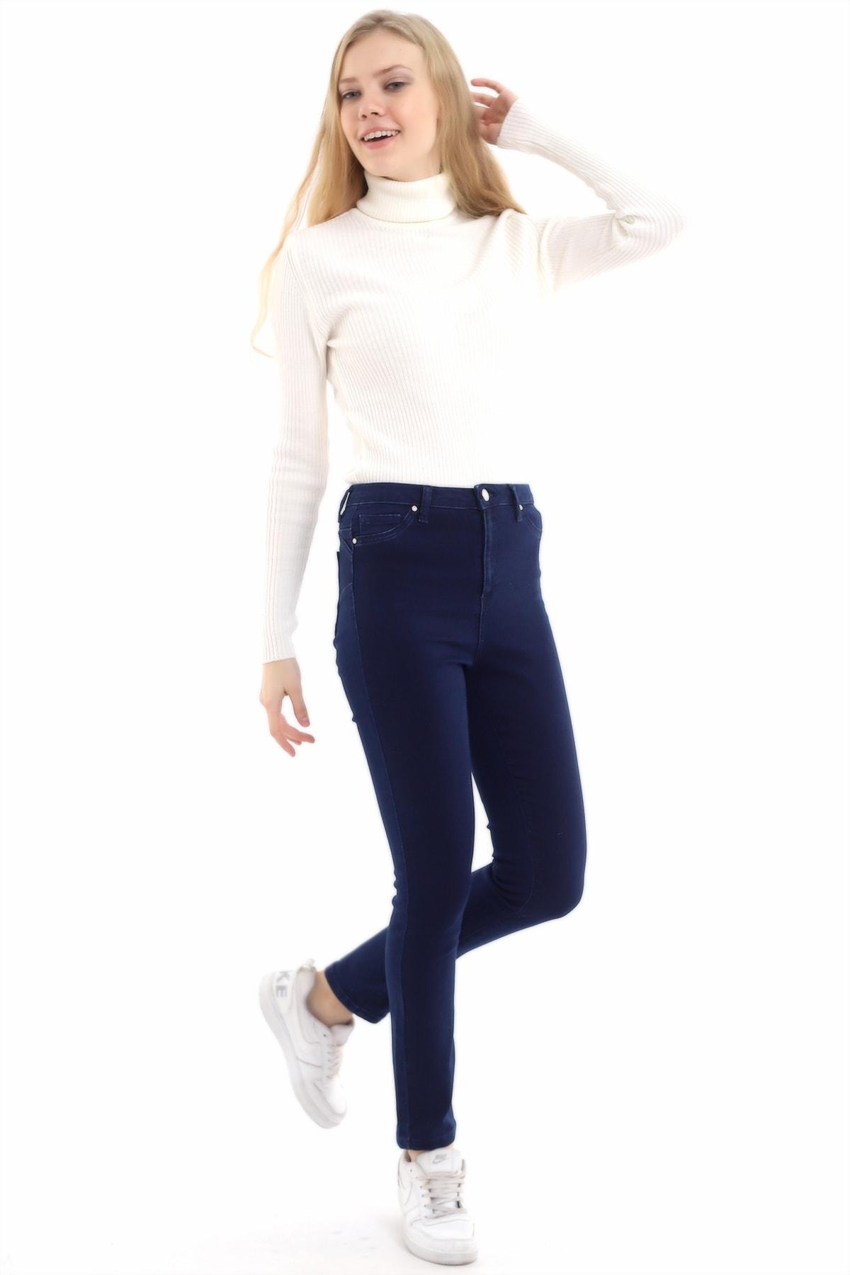 Zencefil Tekstil Kadın Lacivert Slim Kot Pantolon 2