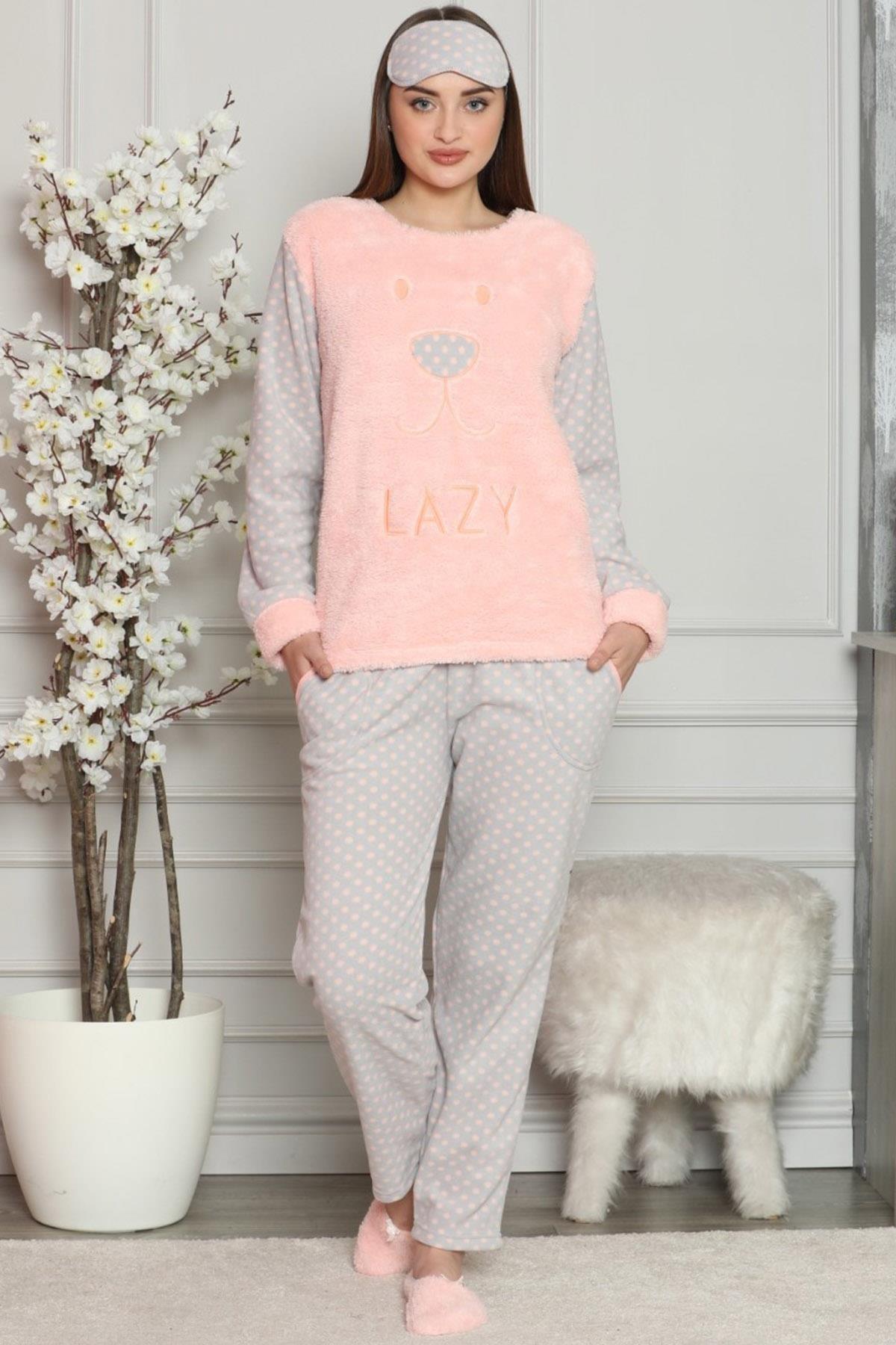 Pijamaevi Kadın Somon Somon Lazy Desenli Kadın Peluş Pijama Takımı 2