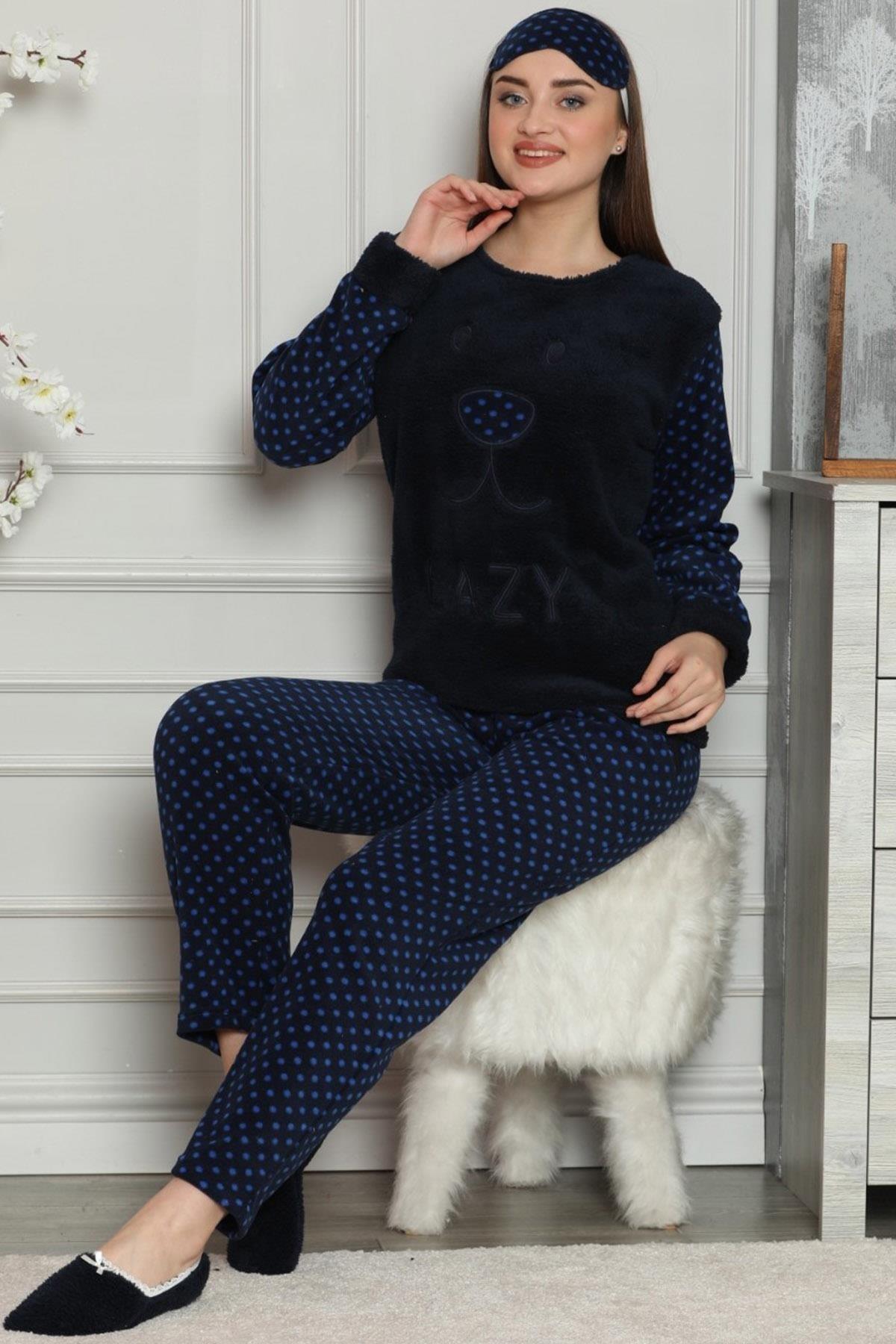 Pijamaevi Kadın Lacivert Lacivert Lazy Desenli Kadın Peluş Pijama Takımı 1