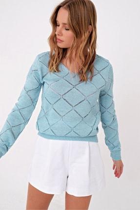 Trend Alaçatı Stili Kadın Mavi V Yaka Delik Ajurlu Triko Kazak ALC-X5060