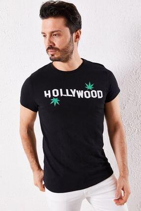Zafoni Erkek Siyah Hollyweed Baskılı Tişört