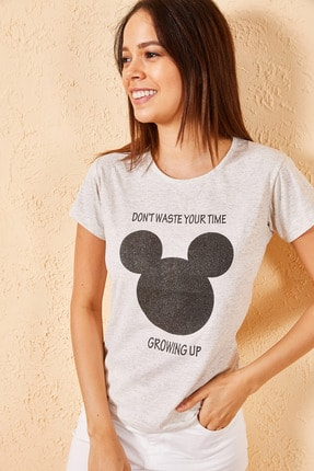 Zafoni Kadın Bej Mickey Baskılı Krem Tişört