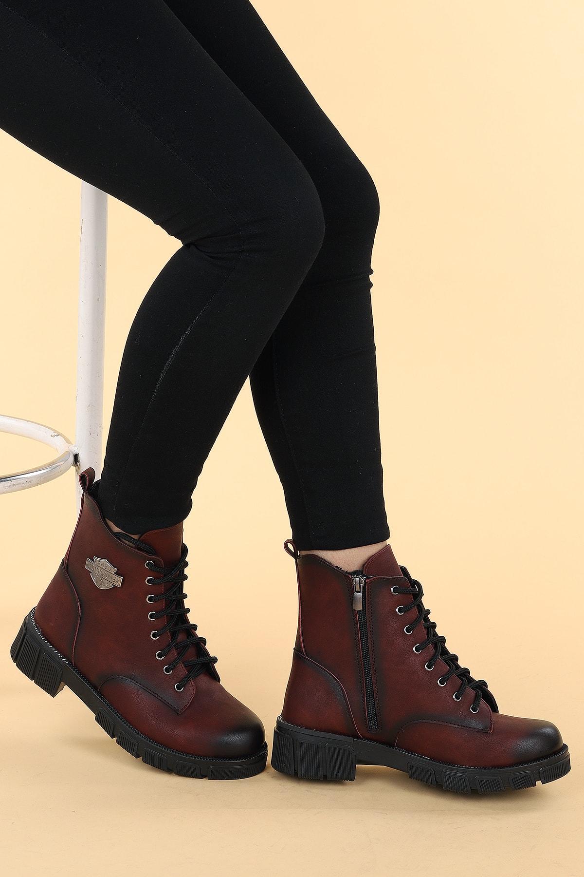 Ayakland Kadın Bordo Termo Taban Fermuarlı Bot Ayakkabı 2