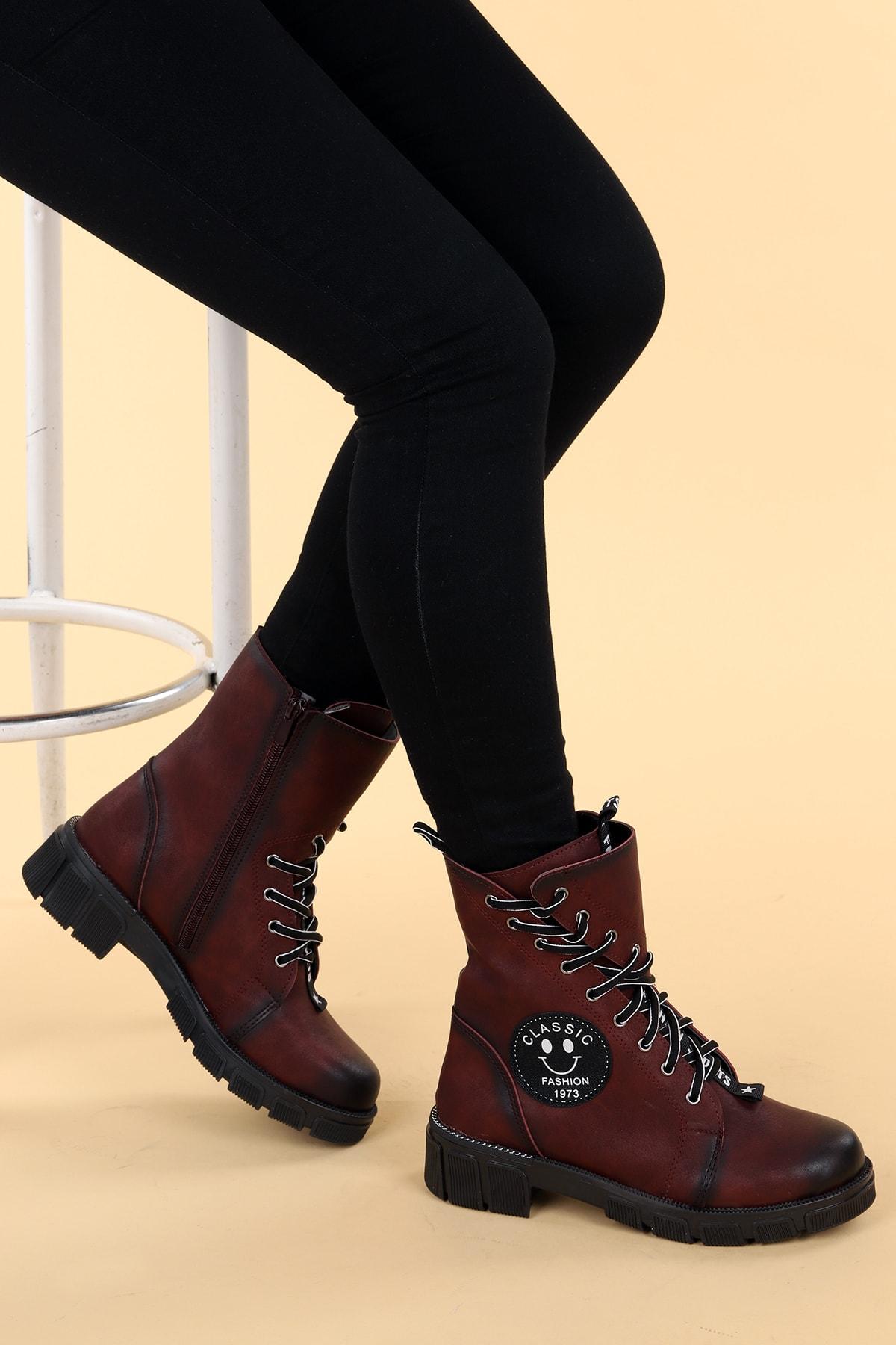 Ayakland Kadın Bordo Cilt Termo Taban Fermuarlı Bot Ayakkabı 1