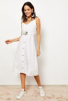 Zafoni Kadın Beyaz Bel Lastikli Askılı Elbise