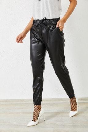 Zafoni Kadın Siyah Bel ve Paça Lastikli Deri Pantolon