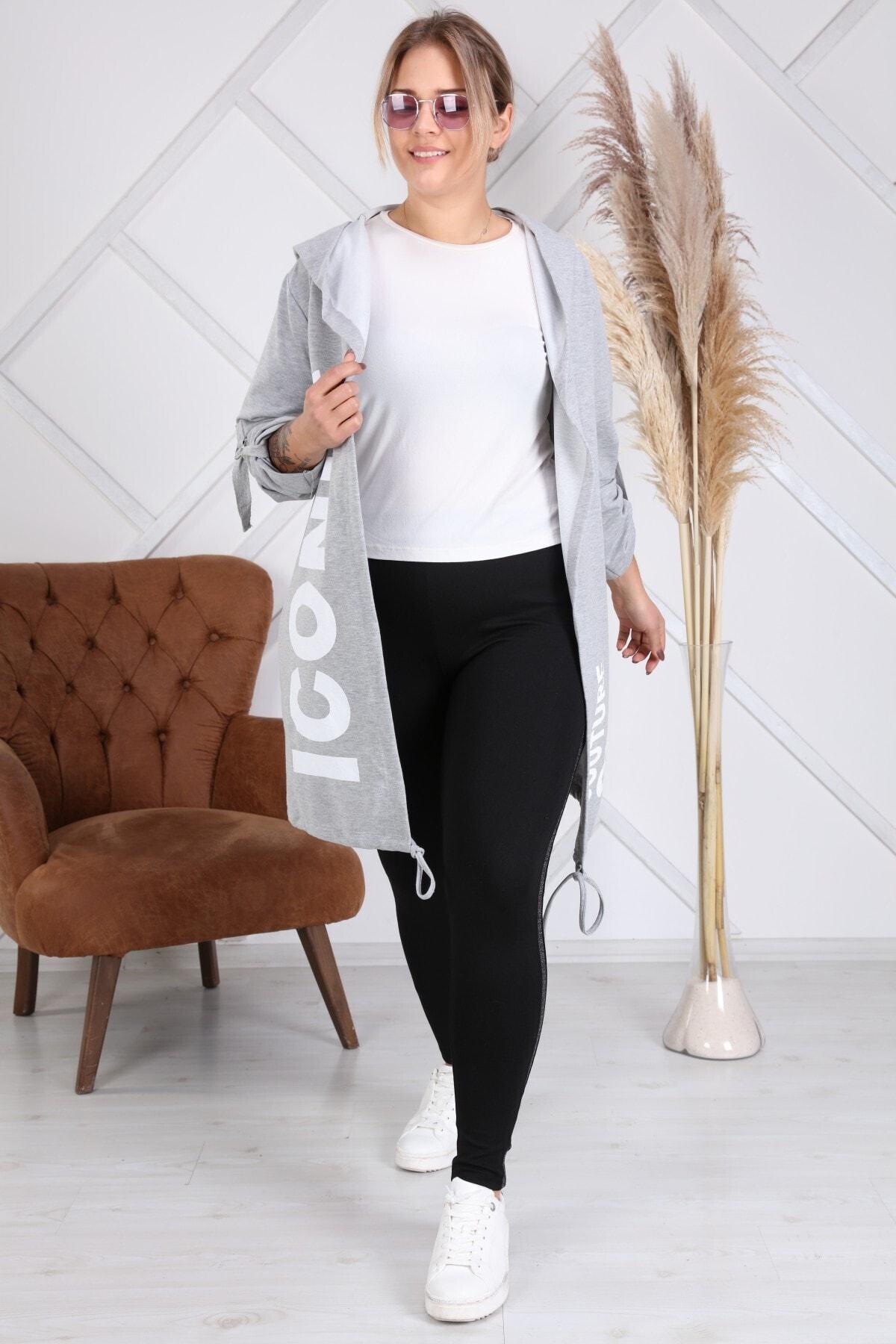 Heves Giyim Kadın Gri Beyaz Baskılı Sweatshirt 1
