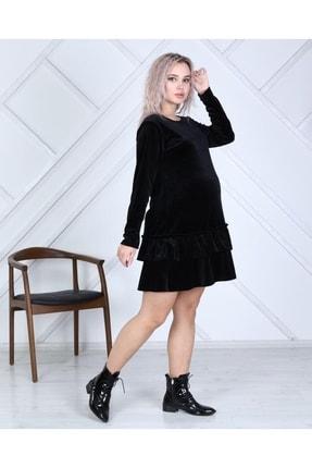 MACFLY Kadın Siyah Hamile Kadife Elbise Tunik