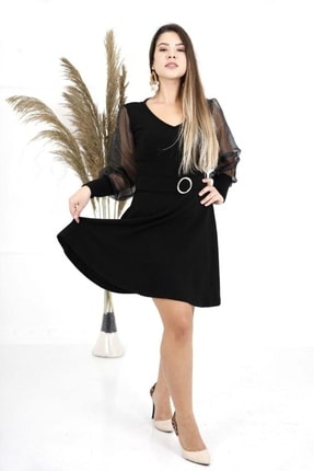 MACFLY Kadın Siyah Hamile Triko Elbise Tunik