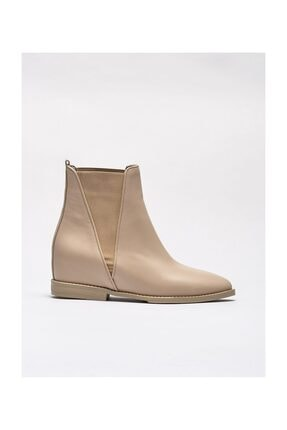 Elle Shoes Bej Hakiki Deri Kadın Düz Bot