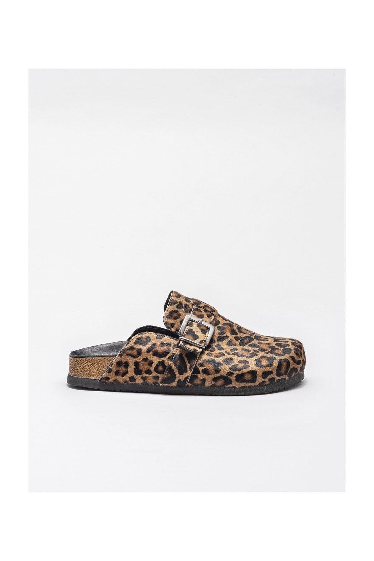 Elle Shoes Kadın Kahverengi Leopar Deri Terlik 1