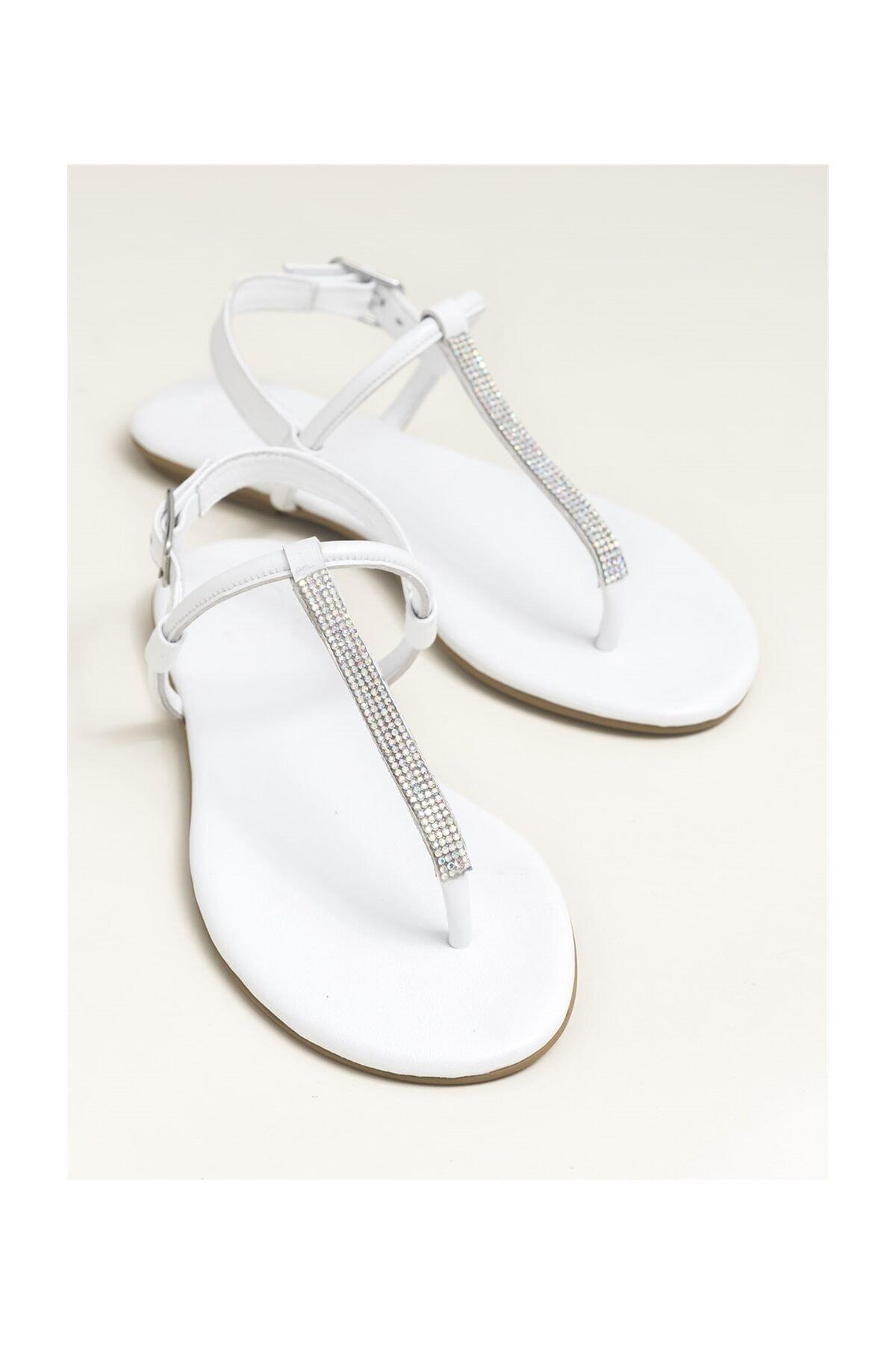 Elle Shoes ROSALINA Hakiki Deri Beyaz Kadın Sandalet 20YLT443029 1