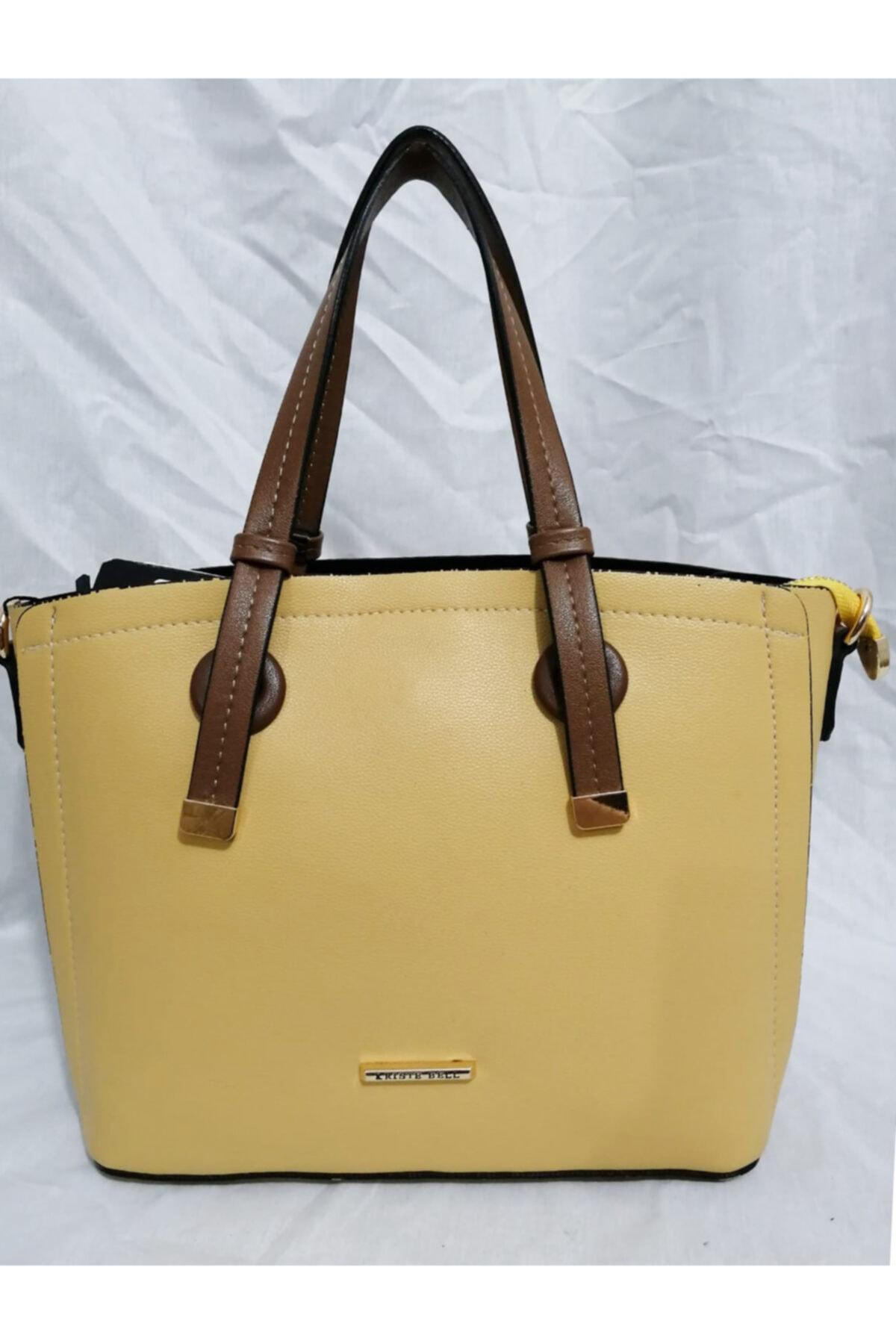 KRISTE BELL Kadın Sarı Klasik Model Kalıplı Orta Boy Kol El Çantası 1