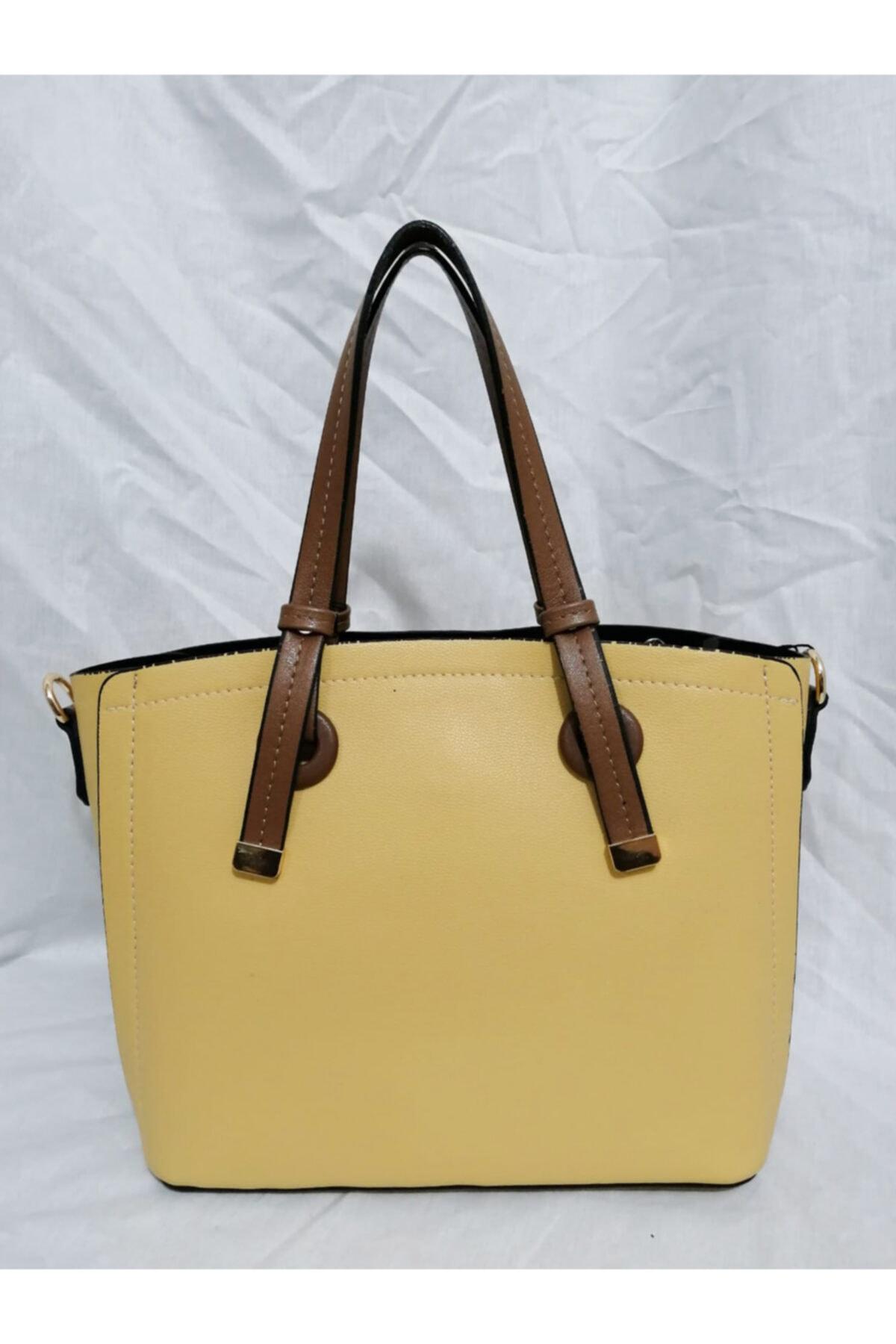 KRISTE BELL Kadın Sarı Klasik Model Kalıplı Orta Boy Kol El Çantası 2