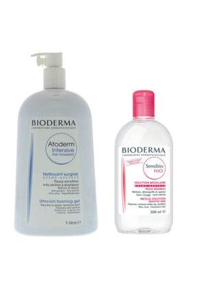 Bioderma Atoderm Intensive Foaming Gel 1 litre Sensibio H2o Yüz Ve Makyaj Temizleme Suyu 500 ml