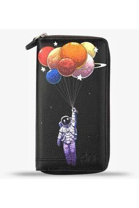 Anı Yüzük Unisex Holy Space Black Baskılı Cep Telefonu Bölmeli Hakiki Deri Cüzdan