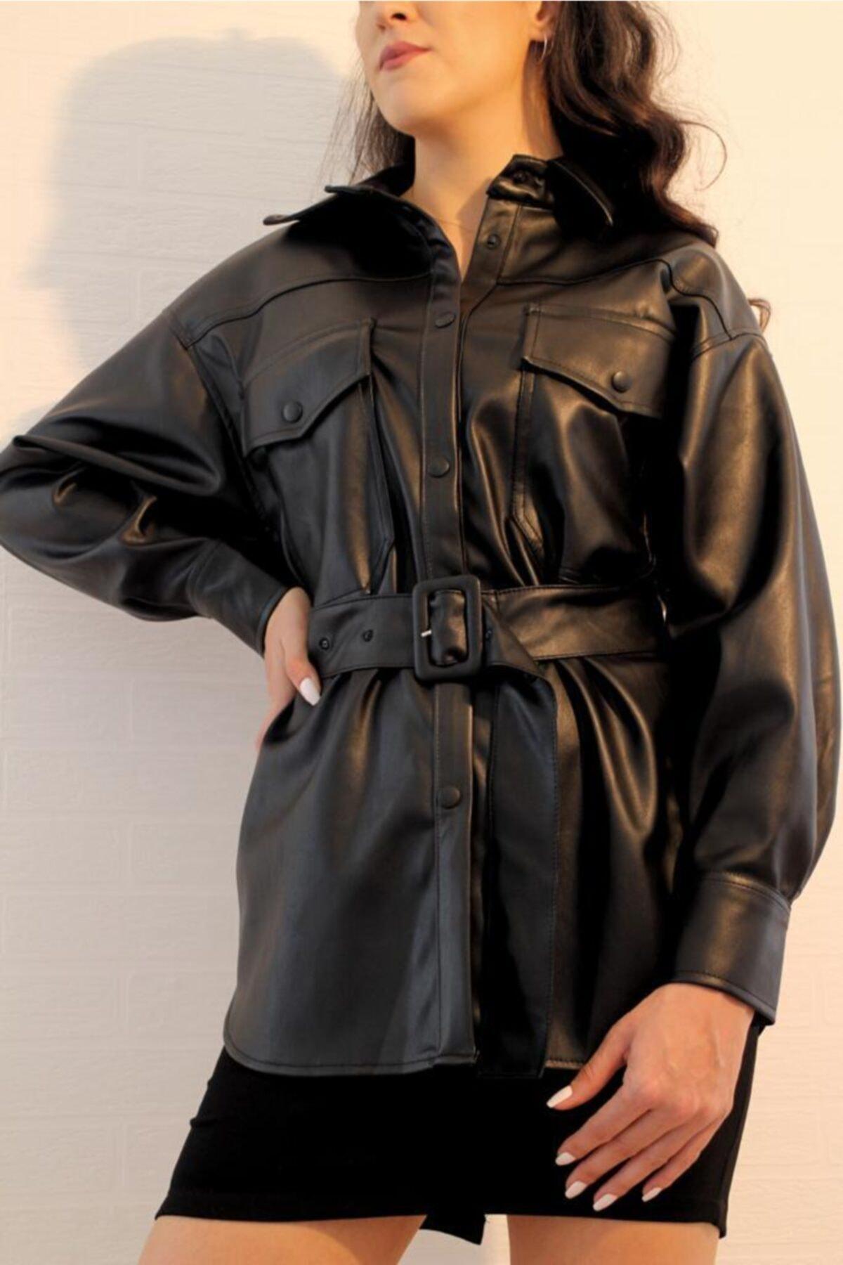 ElModa Boutique Kadın Siyah Kemerli Deri Gömlek-qz 2