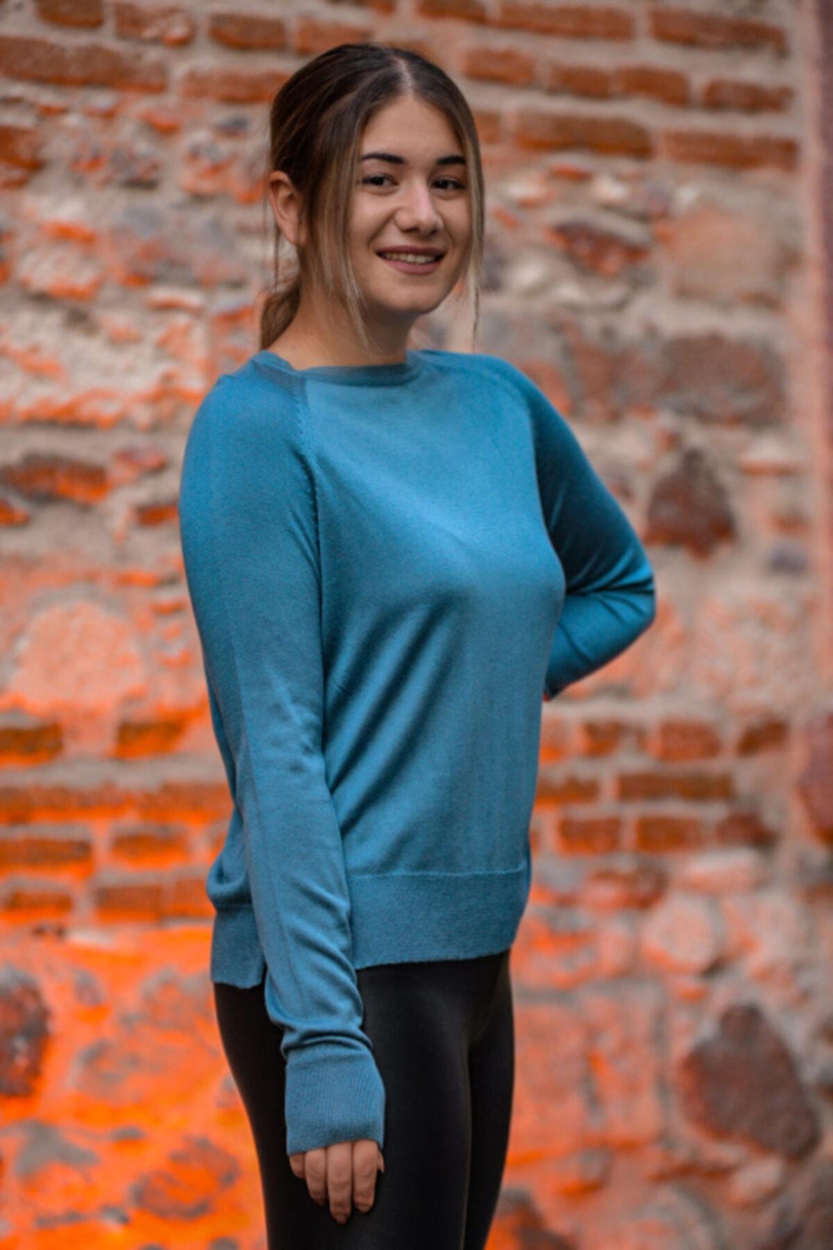 LAVİNİA Kadın Mavi İnce Kazak 2