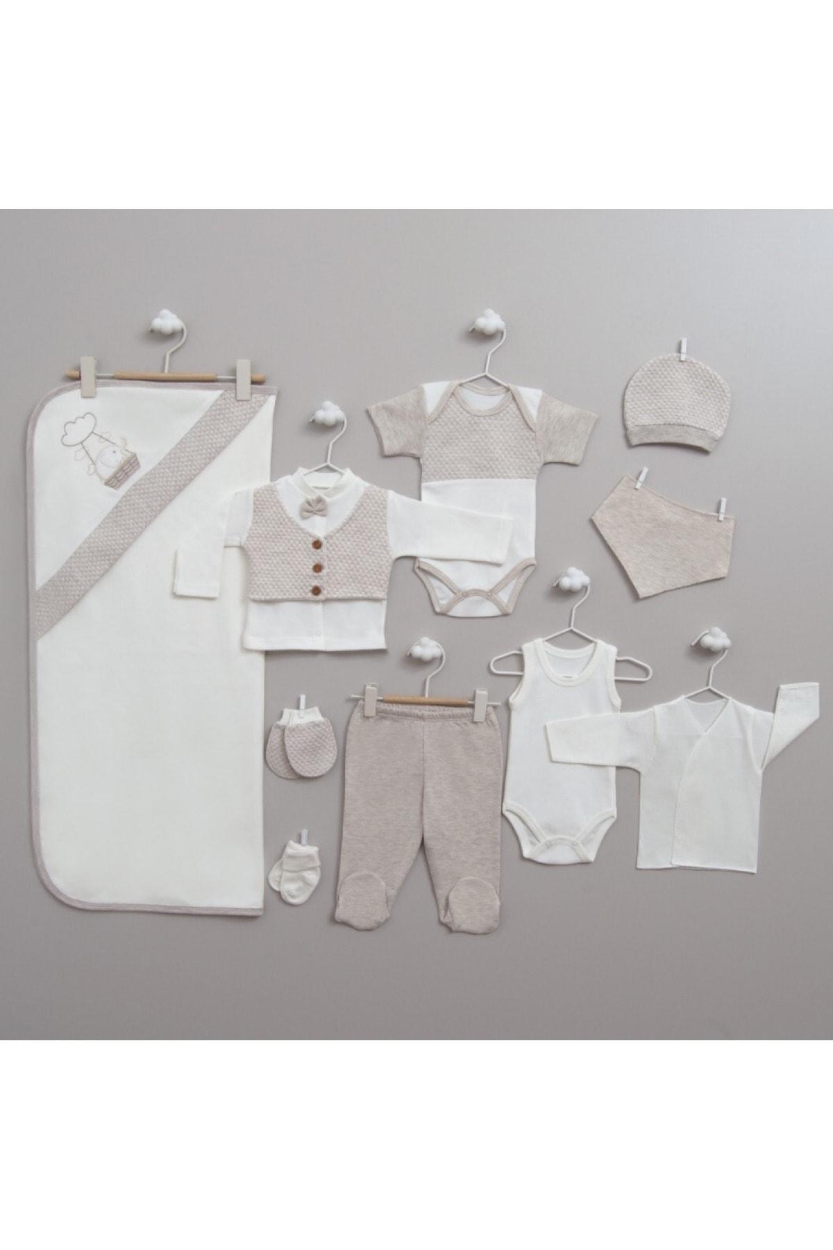 Bebelinna Erkek Bebek Bej Filli 10'lu Yeni Doğan Hastane Çıkış Seti 1