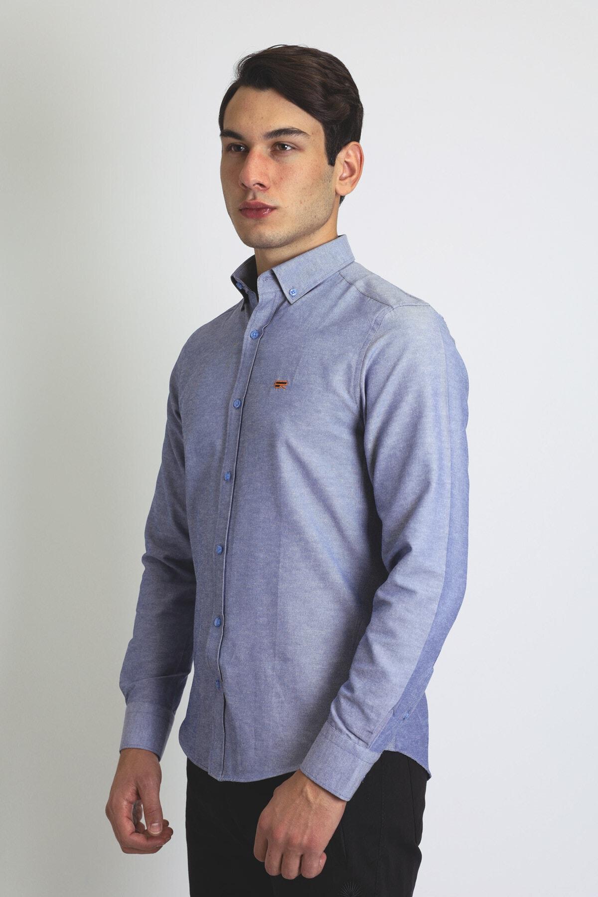 BEARRAYBON Erkek Mavi Pamuk Gömlek 2
