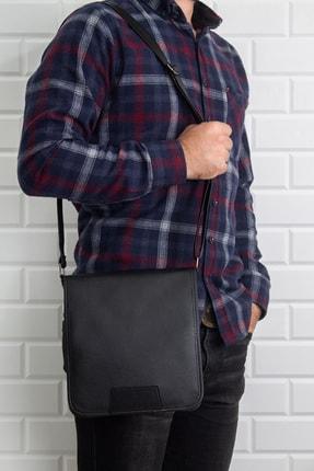 Newish Unisex Siyah Suni Deri Postacı Çanta