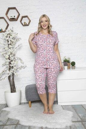 MyBen Kadın Pembe Büyük Beden Desenli Kısa Kollu Battal Pijama Takımı 50021