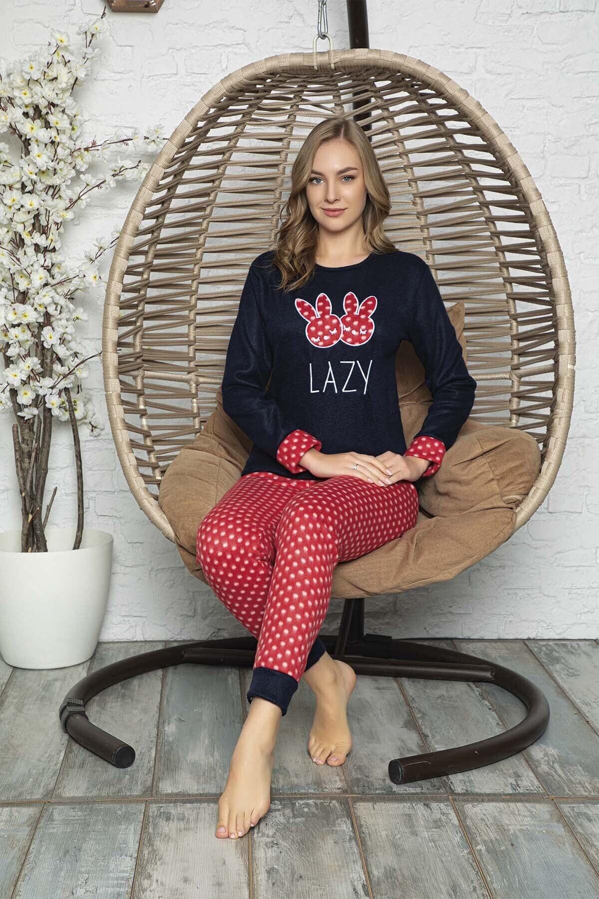 Kompedan Kadın Lacivert Desenli Polar Pijama Takımı Rnd 5806 2