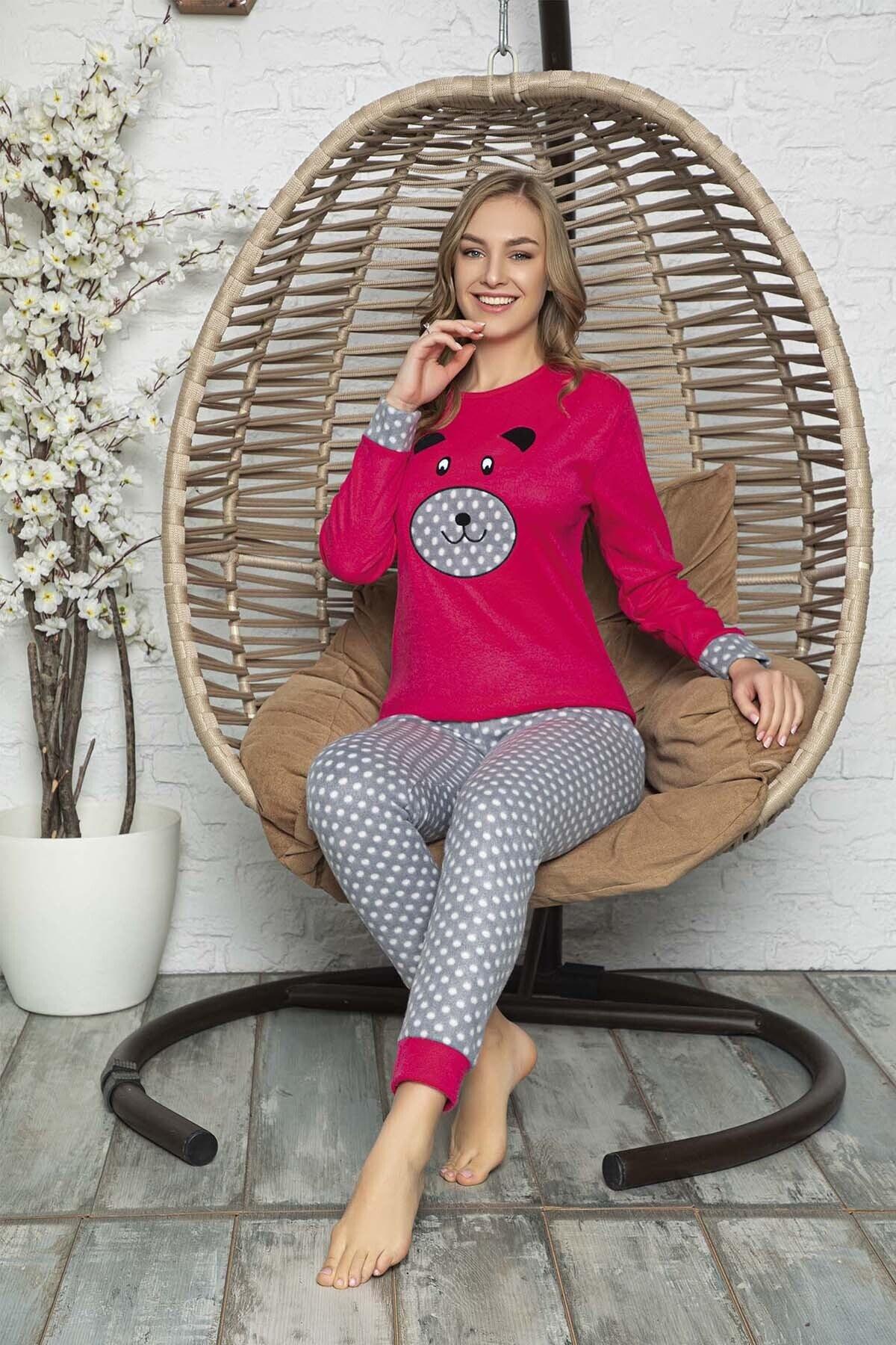 Kompedan Kadın Pembe Desenli Polar Pijama Takımı Rnd 5807 2