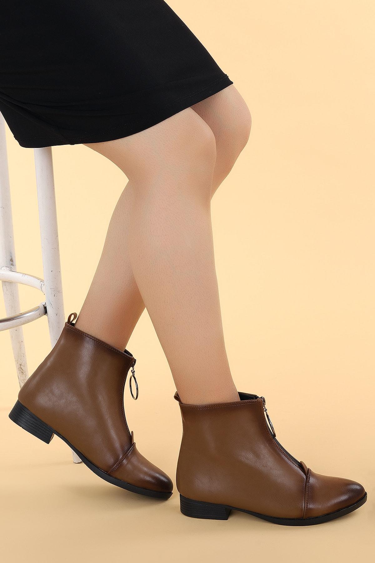 Ayakland Kadın Vizon Topuklu Bot 2