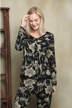 İPEKTENİM TEKSTİL Kadın Siyah Önden Düğmeli Dantelli Pijama Takım