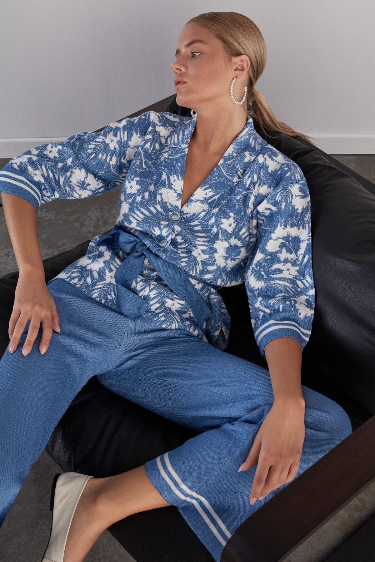JOIN US Kadın Mavi Beli Lastikli Triko Pantolon 2