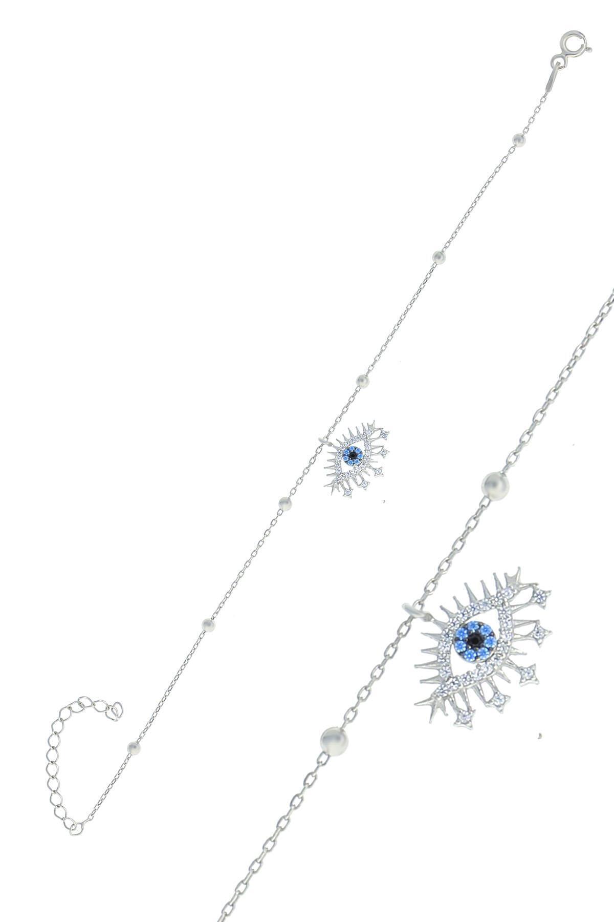 Söğütlü Silver Gümüş Rodyumlu Top Top Zincirli Lareyn Bileklik