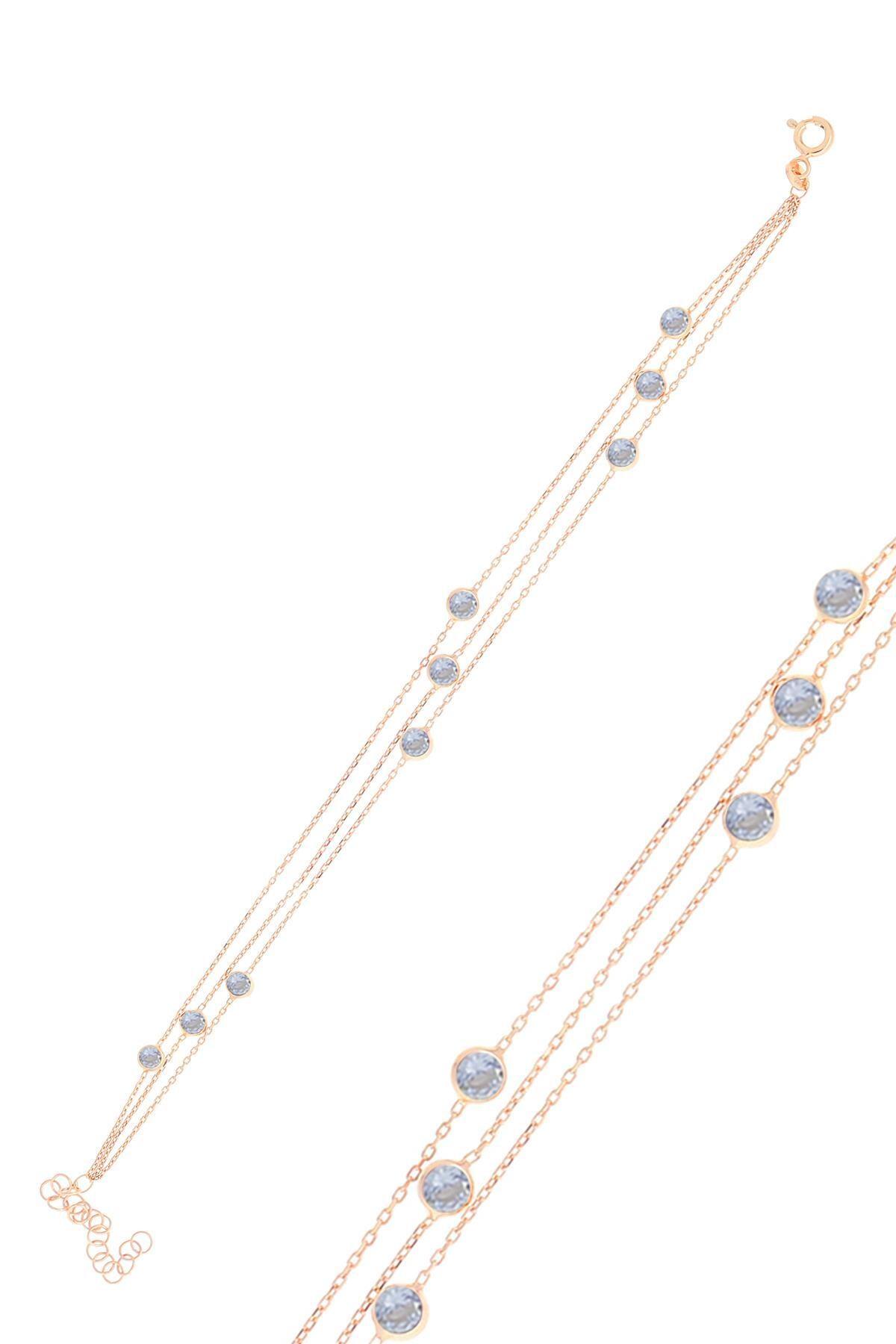 Söğütlü Silver Gümüş Rose Zirkon Sıra Taşlı Bileklik