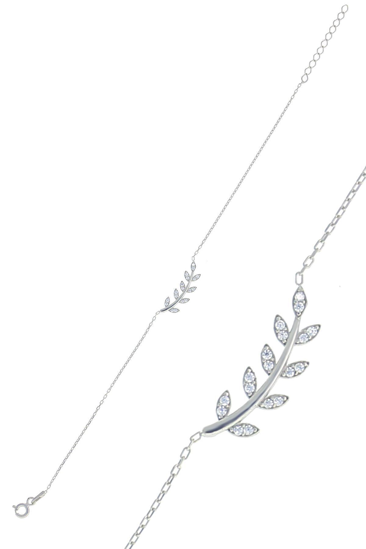 Söğütlü Silver Gümüş Rodyumlu Zirkon Taşlı Yaprak Bileklik