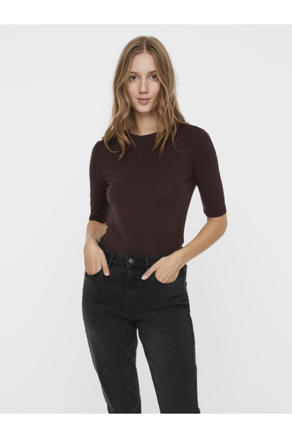 Vero Moda Kadın Kahverengi Yarım Kollu Liyosel Bluz 10219298 VMINZYNC 1