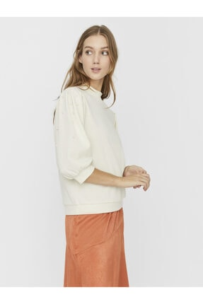 Vero Moda Kadın Ekru İnci Detaylı Truvakar Kol Sweatshirt 10234631 VMBECKIE