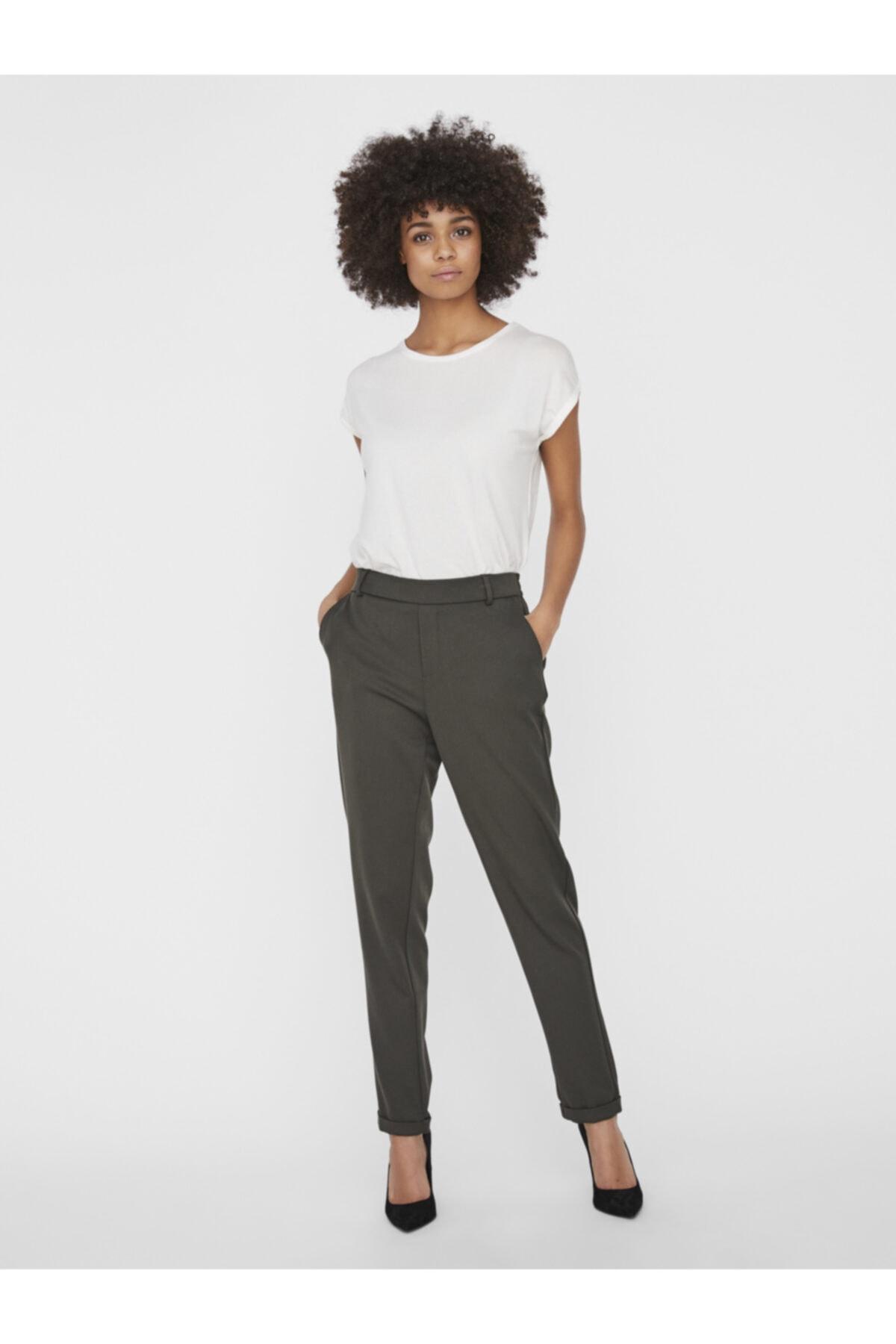 Vero Moda Kadın Haki Düz Kesim Paçaları Katlamalı Kumaş Pantolon 10225280 VMMAYA 1