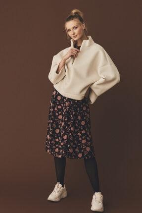 Vero Moda Kadın Ekru Dik Yaka Fermuarlı Sweatshirt 10239841 VMIGORA