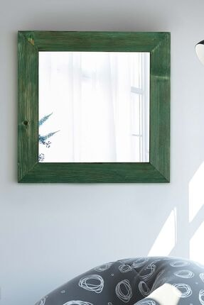 bluecape Yeşil  Doğal Ağaç Masif  Kare Salon Ofis Mutfak Çocuk Odası Duvar Konsol Boy Aynası 58x58 Cm