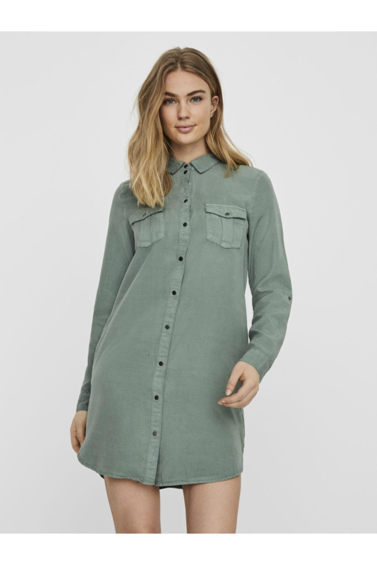Vero Moda Kadın Yeşil Tencel Cepli Gömlek Elbise 10226772 VMSILLA 1