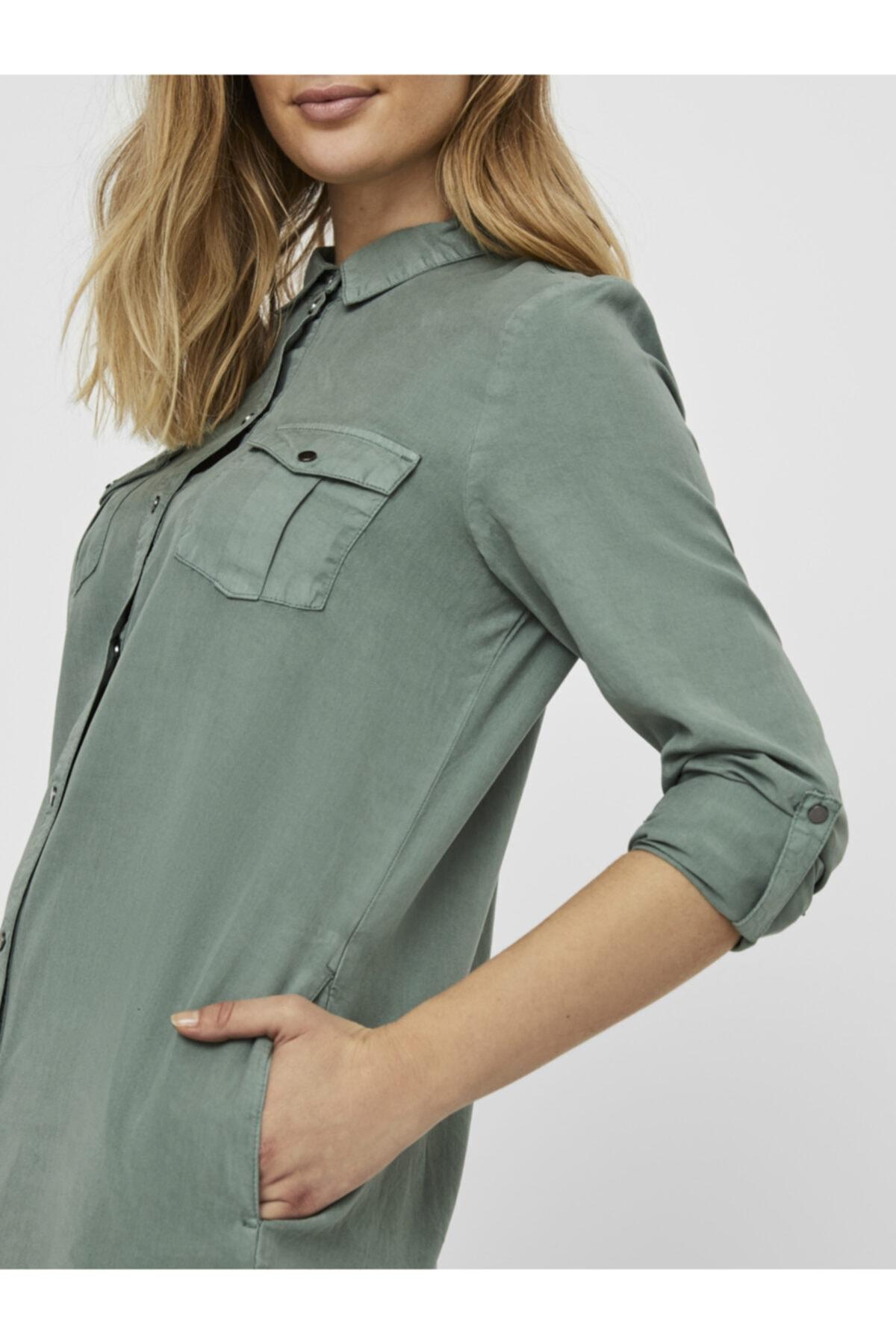 Vero Moda Kadın Yeşil Tencel Cepli Gömlek Elbise 10226772 VMSILLA 2